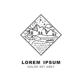 Logo stile linea di montagna