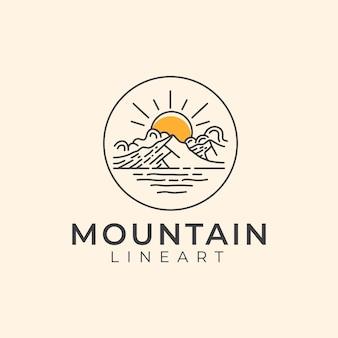 Modello di logo di montagna lineart