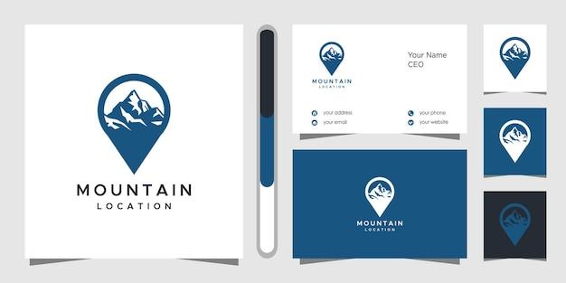 Design del logo di posizione di montagna e biglietto da visita