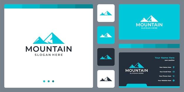 Ispirazione per il design del logo di montagna. disegno del modello di biglietto da visita.
