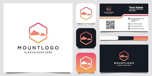 Modello di progettazione del logo di montagna e biglietto da visita