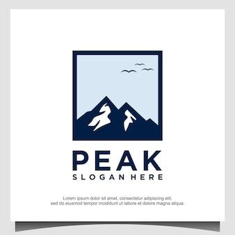 Vettore del modello di progettazione del logo della montagna