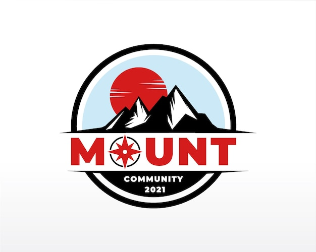 Illustrazione della siluetta di vettore di progettazione di logo della montagna