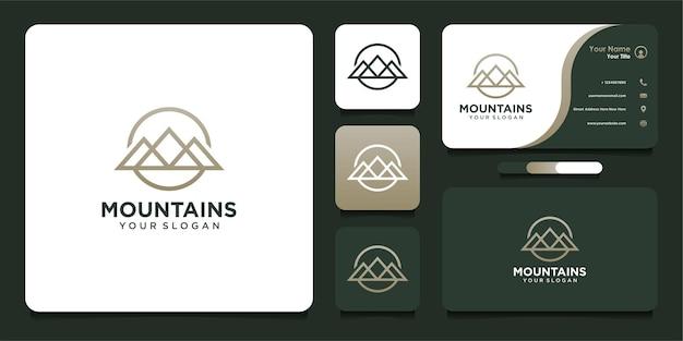 Design del logo di montagna con stile al tratto e biglietto da visita