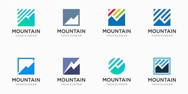Insieme dell'icona di marchio di montagna.
