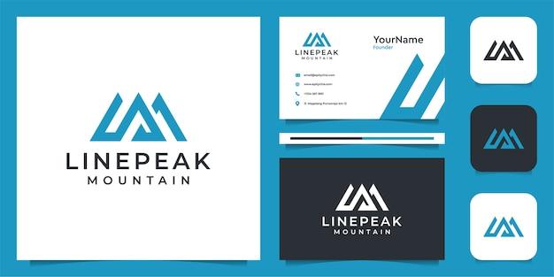 Illustrazione del logo di montagna in stile lineart. logo e biglietto da visita