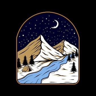 Vettore dell'illustrazione del logo della montagna