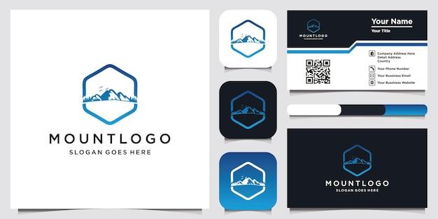 Modello di logo di montagna e design del biglietto da visita