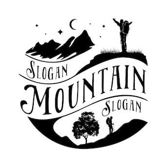 Modello di logo di montagna, escursionismo, avventura all'aria aperta.