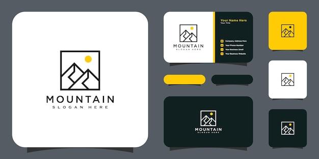 Stile della linea di disegno vettoriale del logo della montagna e biglietto da visita