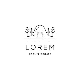 Simbolo del paesaggio del design della linea vettoriale del logo della montagna