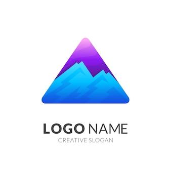 Logo della montagna con modello di progettazione del triangolo, icone semplici