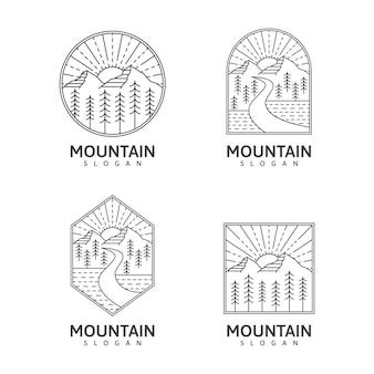 Illustrazione di natura all'aperto monoline di montagna