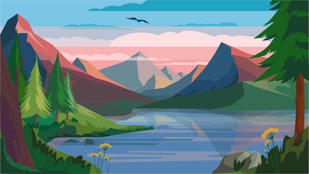 Concetto di paesaggio di mattina di montagna nel design piatto del fumetto. alba alle cime delle montagne, al lago, alla foresta e alle piante sui pendii in riva al lago. vista panoramica della fauna selvatica. sfondo orizzontale illustrazione vettoriale