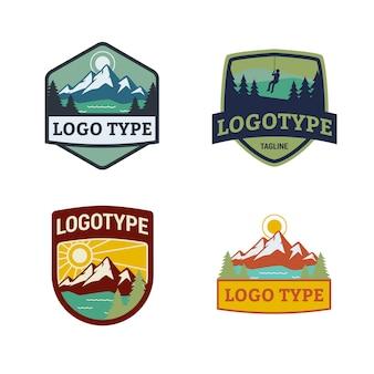 Disegno di marchio distintivo natura montagna con testo modificabile