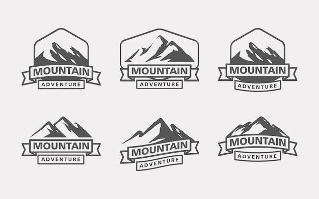 Collezione di modelli di logo per avventure in montagna e all'aperto