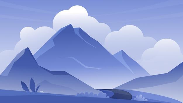 Fondo panoramico di paesaggio all'aperto del paesaggio della montagna
