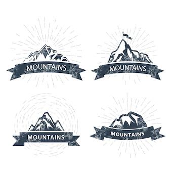 Logo ed emblemi di picchi di montagna.