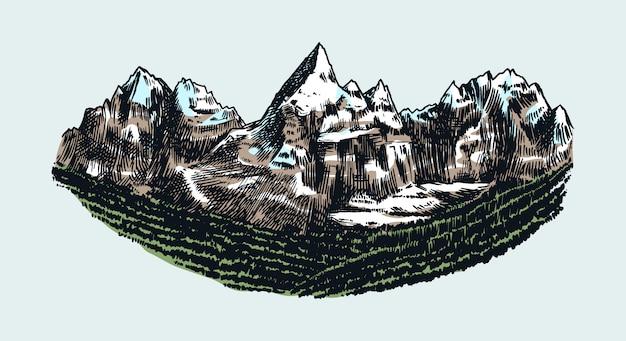 Picchi di montagne, rock vintage, vecchi altipiani. chamonix-mont-blanc. schizzo di alpi di vettore disegnato a mano in stile inciso.