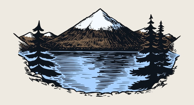 Picchi di montagne, rock vintage, vecchi altipiani. abbozzo all'aperto di vettore disegnato a mano nello stile inciso.