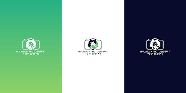 Design del logo della fotografia di montagna