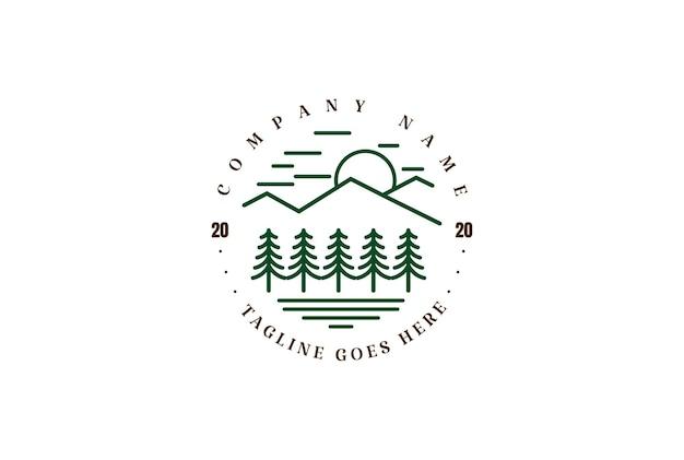 Pino di montagna abete rosso cedro conifera cipresso foresta sempreverde lago river creek logo design vector