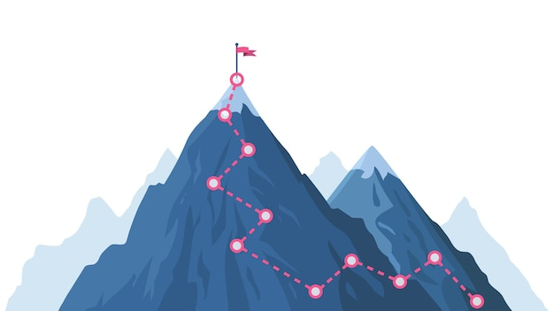 Sentiero di progressione della montagna. percorso di arrampicata, superamento del picco di montagna, percorso di alpinismo con bandiera rossa in alto. modo infografica del percorso, progresso verso il picco