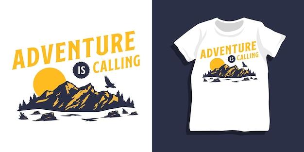 Design della maglietta con citazione di montagna
