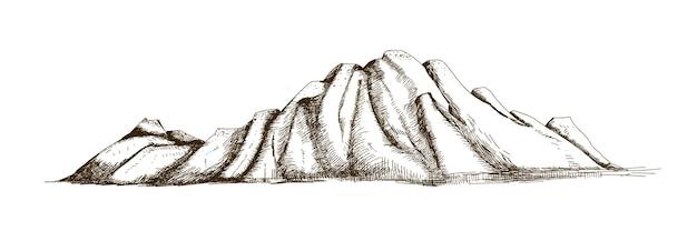 Cresta della montagna o gamma disegnata a mano con linee di contorno su bianco