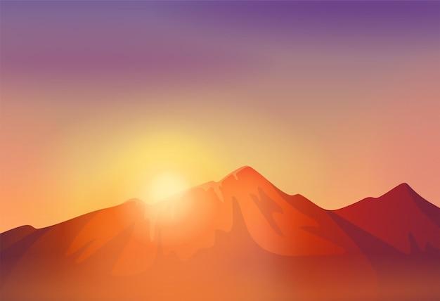 Creste montuose illustrazione vettoriale di luce solare