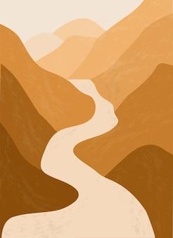 Fiume di montagna. paesaggio astratto, minimalismo.