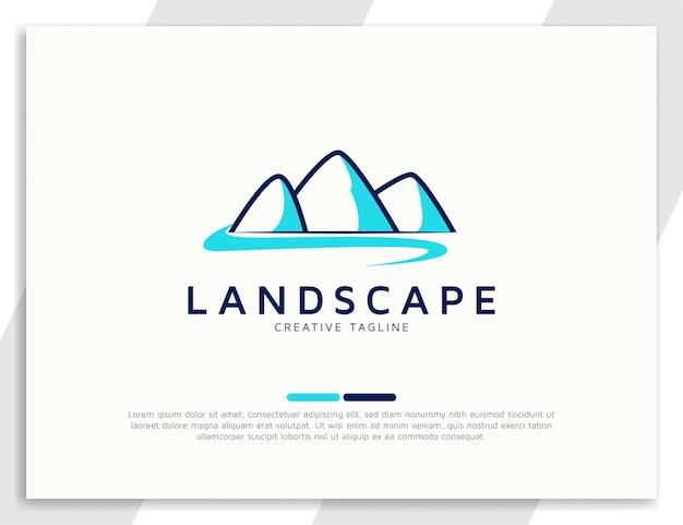 Modello di progettazione del logo del paesaggio montano e fluviale