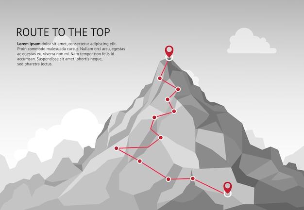 Infografica percorso di montagna. viaggio sfida percorso obiettivo aziendale crescita carriera successo arrampicata missione. concetto di passaggi del percorso delle montagne