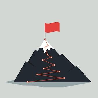 Infografica del percorso di montagna. viaggio sfida percorso obiettivo aziendale crescita carriera successo scalata missione. concetto di vettore di passi del percorso di montagne.