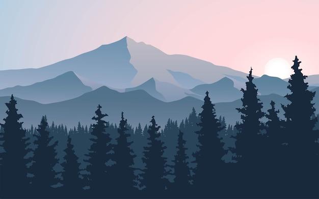 Scena di montagna con foresta e alba