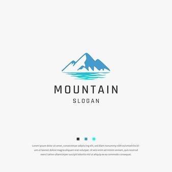 Vettore del modello piatto di progettazione dell'icona del logo del mare di montagna