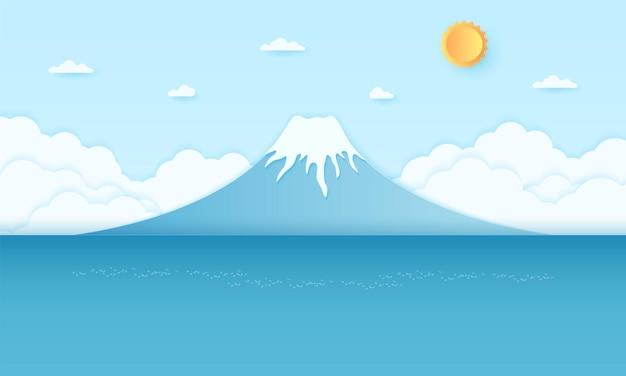 Montagna e mare con sole splendente e cielo azzurro, stile paper art