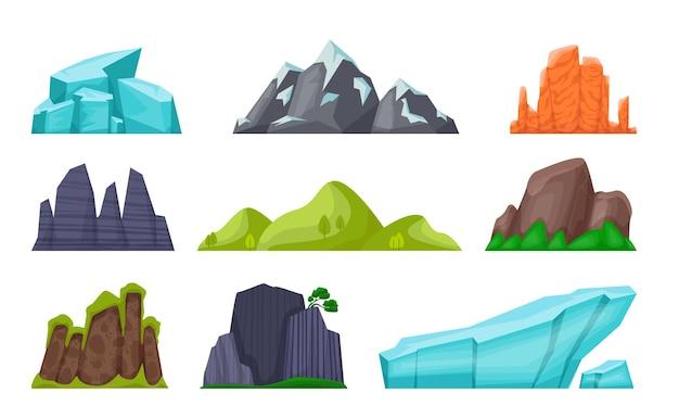 Insieme di montagna. colline e insenature rocciose dei cartoni animati, vette e ghiacciai innevati, scogliere desertiche e pioggia