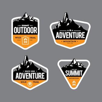 Scenografia di montagna per logo, emblema, distintivo e altro