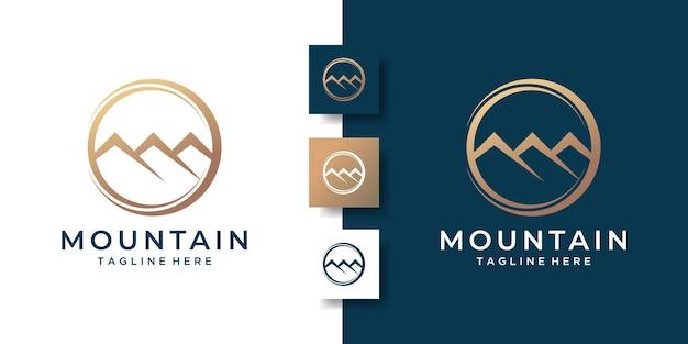 Logo semplice di montagna con il concetto creativo del cerchio