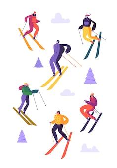 Personaggi dello sci di montagna in occhiali e tuta da sci
