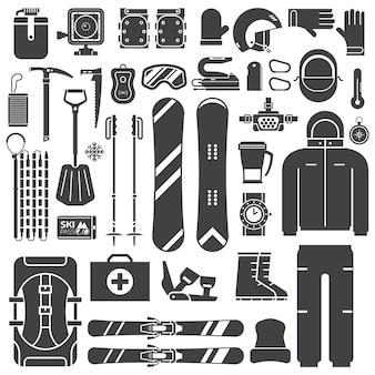 Collezione di icone di contorno di attrezzi e accessori per lo sci di montagna.