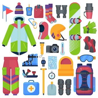 Set di attrezzature per lo snowboard di montagna.