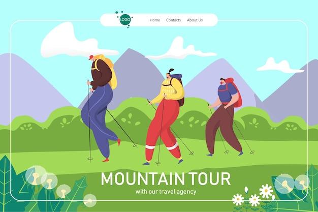 Tour estivo in montagna, illustrazione di atterraggio per escursioni in famiglia