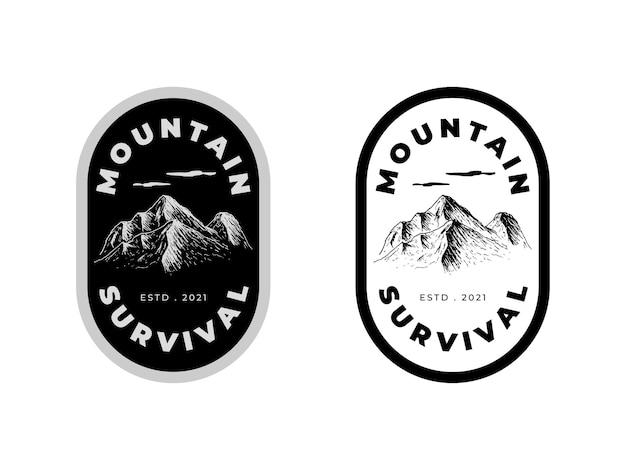 Concetto di design del logo di sopravvivenza in montagna