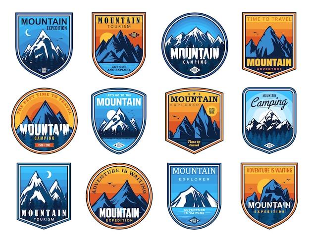 Icone di turismo di montagna e arrampicata su roccia