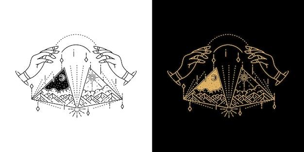 Montagna in triange con disegno geometrico mano monoline tattoo