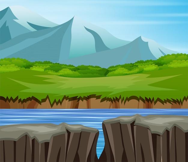 Paesaggio della natura dell'albero della scogliera della valle della montagna