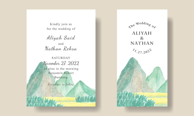 Modello di biglietto d'invito per matrimonio con sfondo vista montagna modificabile