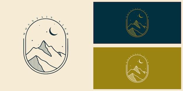 Progettazione del modello di logo con vista sulle montagne